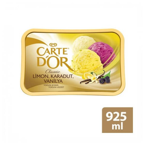 ALGİDA CARTE D'OR CLASSIC 925ML LİMON-KARADUT-VANİLYA